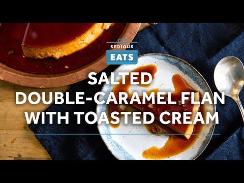Salted Double-Caramel Flan with Toasted Cream