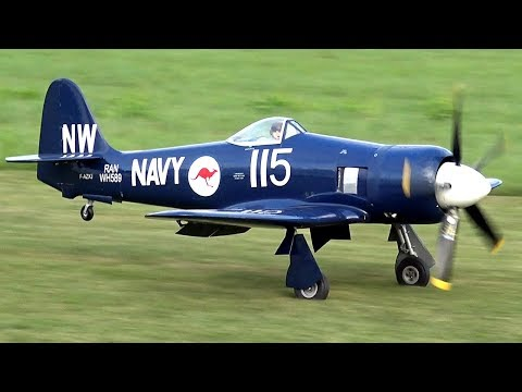 BEST SOUNDING RC PLANE EVER - SEA FURY WITH HUGE PROP