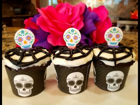 💖 Day Of The Dead Devil's Food Coco Cupcake Halloween for kids official recipe by Mommy Is A Chef