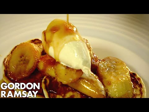 American Style Scotch Pancakes with Caramelised Bananas - Gordon Ramsay