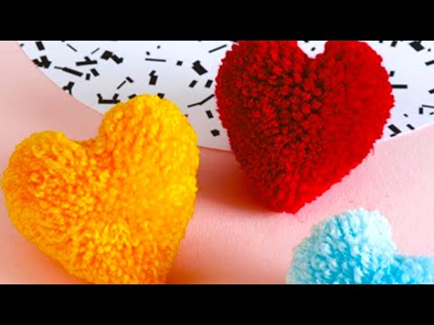 How to make heart shape pompom-heart gift for valentine's |perfect shape pompom - cool and creative