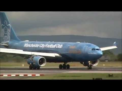 Etihad A330 in Manchester City football livery at Manchester