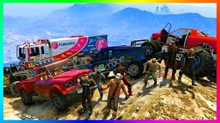 GTA ONLINE EXTREME 4X4 OFF-ROADING SPECIAL w/ MAD MAX VEHICLES & CUSTOM GTA 5 MONSTER JAM TRUCKS!