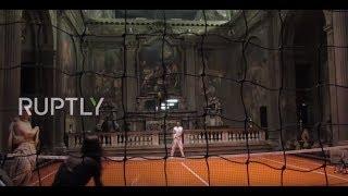 Milanese play TENNIS in 16th Century Church