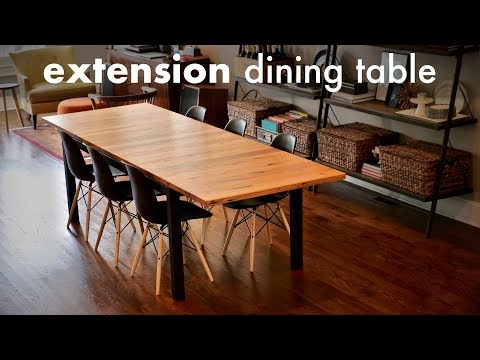 Reclaimed Oak Extension Dining Table // How To Build - Woodworking / Welding