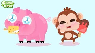 Learn ABC Alphabet with Animals Part 1: Mouse and Pig (Candybots) - Video for Kids