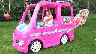 Download Kid Buys a Giant Barbie Dream Camper Van Vehicle Ride-On Power Wheel Video