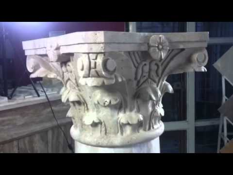 Round Corinthian travertine capital