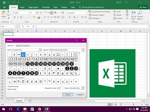 Ms excel shortcut key to insert symbol