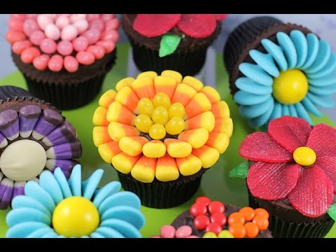 Easy Flower Cupcakes - Candy Flowers w/ NO Fancy cutters! | My Cupcake Addiction