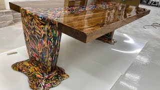 Thousands of Pencils Floating Down a River Table..