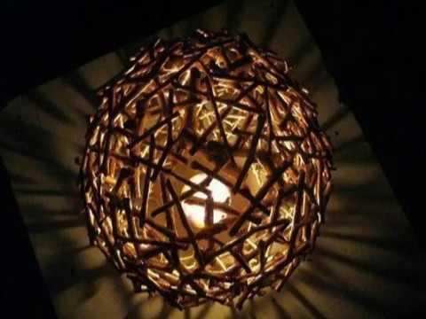 DIY Twig Lamp Shade Made Of Wood Sticks