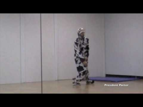 President Porter Instagram Bboy Jericho Freestyle dancing in a cow costume 2011