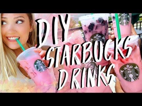 DIY Starbucks Drinks 2016! Pink Drink, Caramel Espresso Granita, Green Tea Frappe!