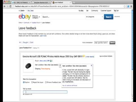 Leaving Feedback On eBay: How You Can Leave Feedback on eBay In Under Two Minutes.