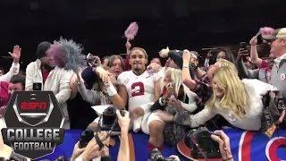 Jalen Hurts celebrates with Alabama fans after winning 2018 Sugar Bowl | ESPN