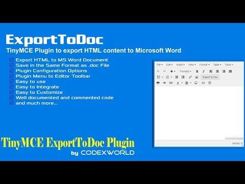 TinyMCE Export to Doc Plugin