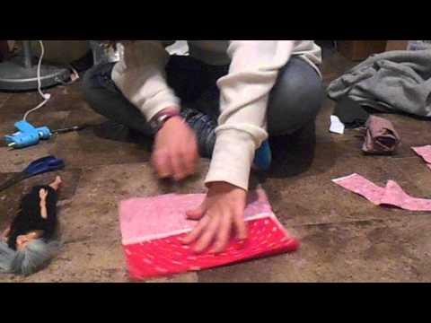 how to make a barbie sleeping bag part 1