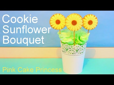 Sunflower Cookie Lollipops Bouquet How to by Pink Cake Princess