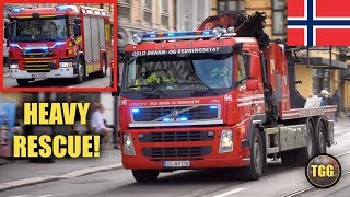 [Norway] Oslo Heavy Rescue Trucks Responding Lights, Siren & Airhorn!