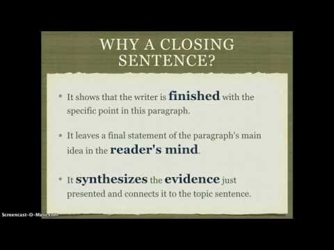 Organization: Closing Sentences in a Paragraph