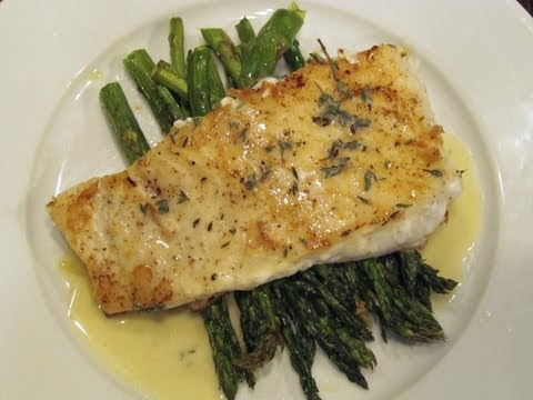 Pan Seared Halibut with Roasted Asparagus and a Beurre Blanc Sauce