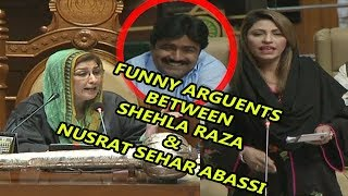 Shehla Raza and Nusrat Sehar Abbasi Funny Arguments During Sindh Assembly section