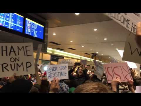 Boston Logan Airport Protest of Trump Muslim Immigrant & Refugee Ban