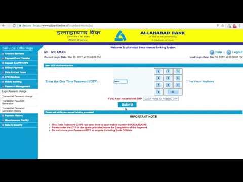 ALLAHABAD BANK ACCOUNT ONLINE BANKING transaction password creation HINDI