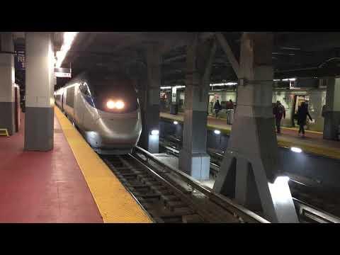Amtrak Acela departs Penn Station