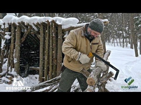 Bushcraft: BUILDNG a CAMP in WINTER - Firewood, Sawhorse, Bow Saw