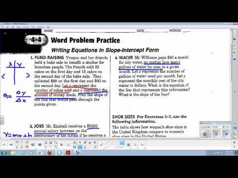 Lin Alg 4 4 Word Problem Practice for Slope Intercept Form
