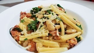Casarecce with Sausage Meat, White Beans and Spinach by Adam Swanson at Carnavale 2014
