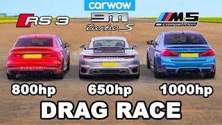 BMW M5 1,000hp v Audi RS3 800hp v Porsche 911 Turbo S - DRAG RACE