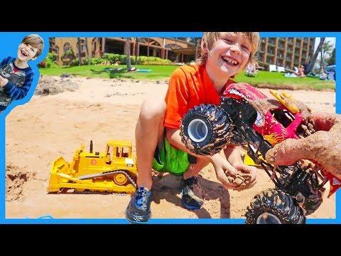Monster Trucks for Children With Bruder Bulldozer at the Beach!