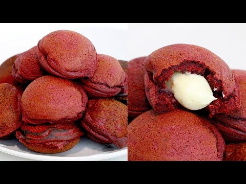 Red Velvet-Stuffed Mini Pancakes (Ebelskivers) | RECIPE