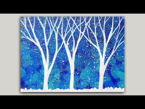 Miniature Acrylic Painting White Glittery Trees on Abstract Background (Made into Greeting Cards)