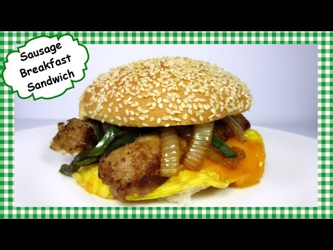 Easy Cheesy Sausage Breakfast Sandwich ~ Sausage Egg & Cheese Breakfast Sandwich Recipe