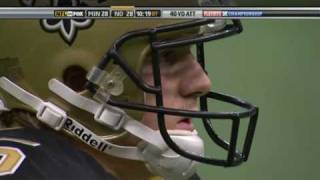 Garrett Hartley's game winning feld goal to send the Saints to the Superbowl