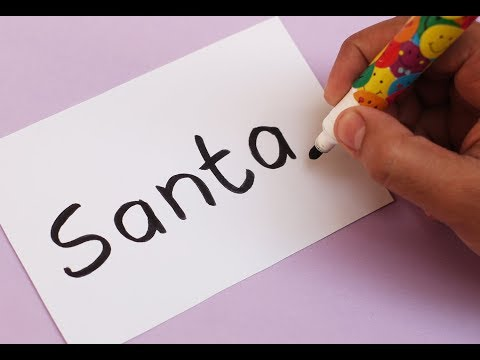 How to turn word SANTA into a Cartoon SANTA CLAUS ! Learn drawing art on paper for kids