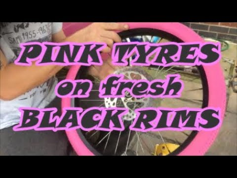 Erin's Custom Bike Part 1 - painting wheels, PINK tyres/tires