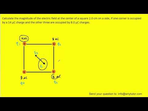 calculate the magnitude of the electric field at the center of a square