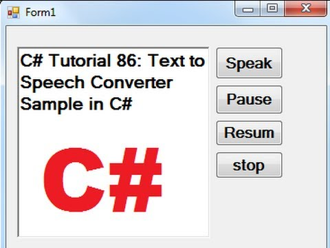 C# Tutorial 86: Text to Speech Converter Sample in C#