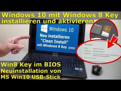 Windows 10 Clean Install ohne Upgrade mit Windows 8 Key im BIOS - digitale Berechtigung