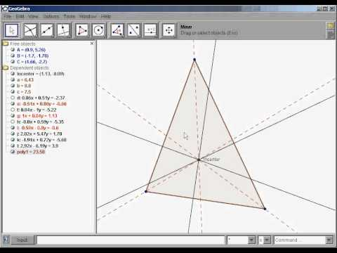 How to construct the incenter of a triangle in Geogebra.