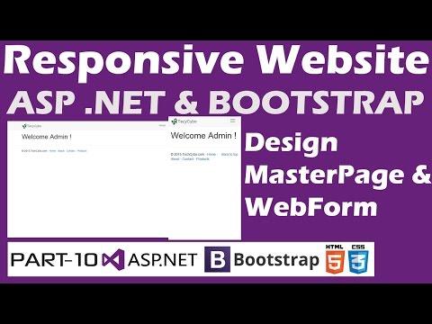 Responsive Website - ASP .NET & Bootstrap - Part 10 - Master Page Design,WebForm