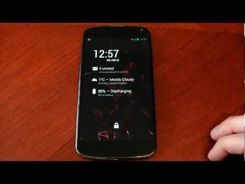 Nexus 4 - Android Lock Screen Widgets - Dash Clock - Review