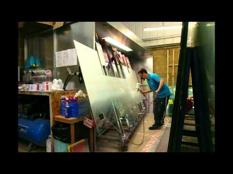 Bespoke oversized glass splashback painting