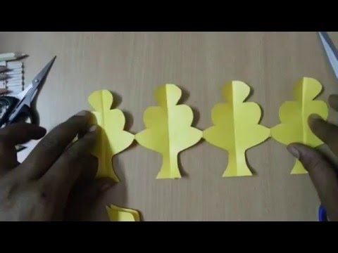 How to make Paper Tree chain, Home Decoration Paper Arts, Paper Origami