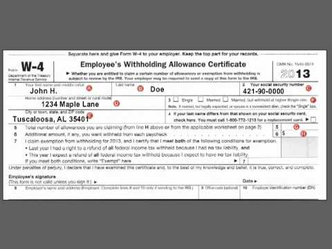 How to complete the Federal W-4 Income Tax Withholding Form
